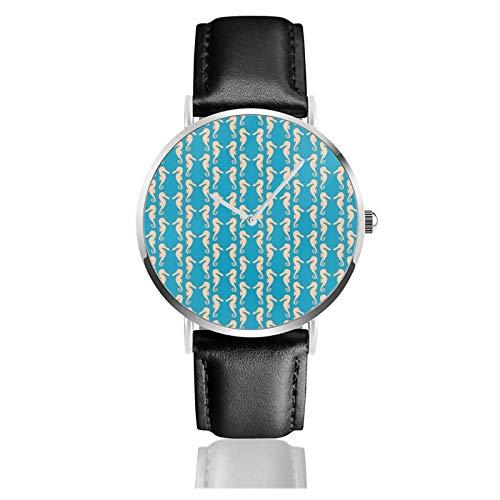 Reloj clásico, color verde azulado y melocotón color caballito de mar negro correa de cuero muñeca casual relojes