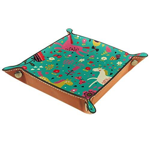 ATOMO Bandeja de almacenamiento de cuero con diseño de caballo salto para alegría, llaves y monedas, organizador de mesita de noche, pequeña bandeja para llaves, teléfono, caja de almacenamiento