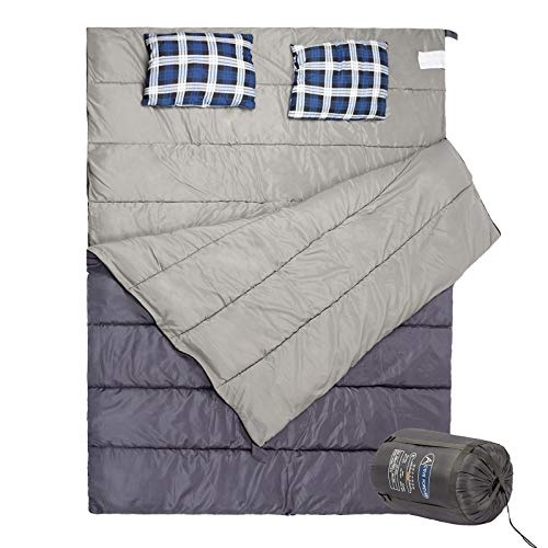 Display4top Double Sleeping Bag with 2 Camping Pillows for Camping, Backpacking, Or Hiking,It's Portable and Lightweight for Adults Or Teens(Gray/Navy Blue)