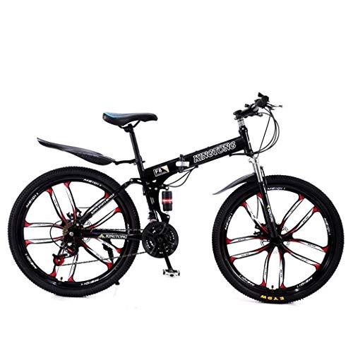 Mnjin Deportes al Aire Libre Bicicletas de montaña Bicicletas Plegables, Freno de Doble Disco de 21 velocidades Suspensión Completa Antideslizante, Cuadro de Aluminio liviano, Horquilla de suspens