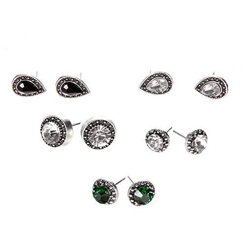 Pendientes para mujer, 5 pares/set de aretes con circonita cúbica y gota de agua, color verde y negro