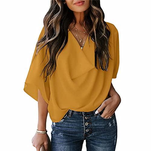 ZFQQ Camisa de Gasa de Color sólido para Mujer de Primavera y Verano Camiseta Suelta con Cuello en v Informal