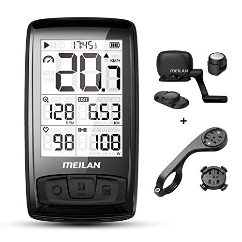 MEILAN Blade(M4) Wireless Bike Computer Cycling Computer with Backlight, Speed Cadence Sensor Included, Bluetooth ANT+, 80 Hours Battery, 2.5in Screen, Bicycle Computer, Road Bike,Waterproof