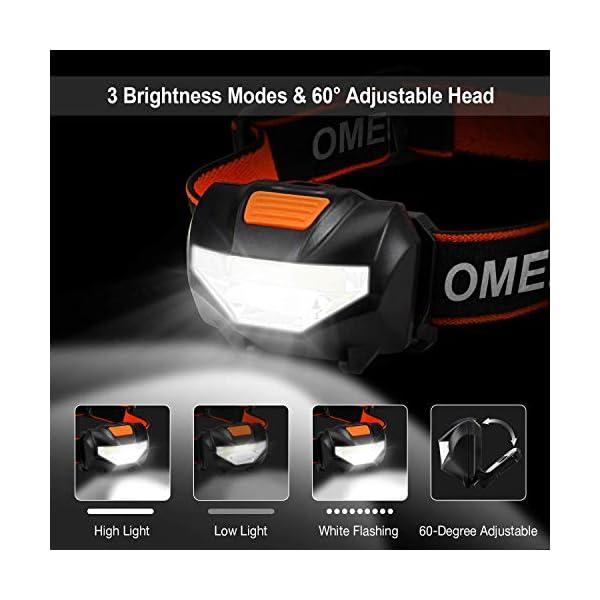 OMERIL Linterna Frontal LED (2 Pack), Super Brillante Linterna Cabeza (6 Pilas AAA Incluidas), 3 Modos de Luz… 1