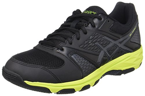 ASICS Herren Gel-Domain 4 Handballschuhe, Schwarz (Black/Dark Grey/Energy Green), 44 EU