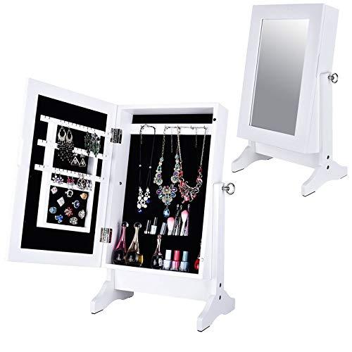 Home Gadgets Armario Joyero con Espejo Madera Blanco