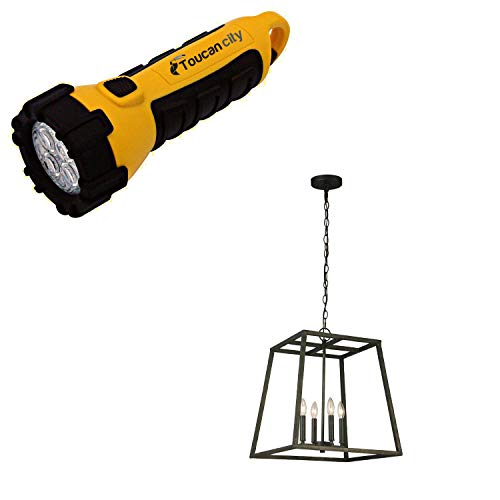 Toucan City LED Flashlight and Luminosa 4-Light Hammered Metal Linear Pendant LT1035