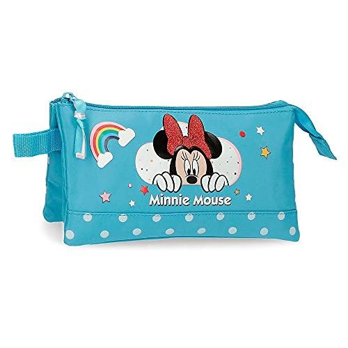 Disney Minnie Rainbow Estuche Triple Azul 22x12x5 cms Poliéster
