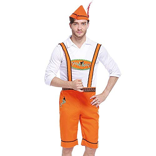 PPangUDing Oktoberfest Herren Kostüm 3 TLG Hut Tops Trägerhose Cosplay Kleidung Bierfest Karneval Trachtenkleid Mittelalter Vintage Set Bayerisches Bar Trachtenhemden (M, Orange)