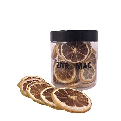 Limón amarillo deshidratado para cóctel. Fruta deshidratada sin azúcar para coctel / decoración / navidad / bebidas. Rodaja de limon seca 100% natural sin aditivos.Tarro pequeño 25 unidades.