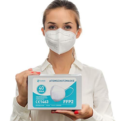 Health2b FFP2 Maske CE Zertifiziert CE1463 Atemschutzmaske Mundschutz DERMATEST® Sehr Gut (40er Pack, Weiß)