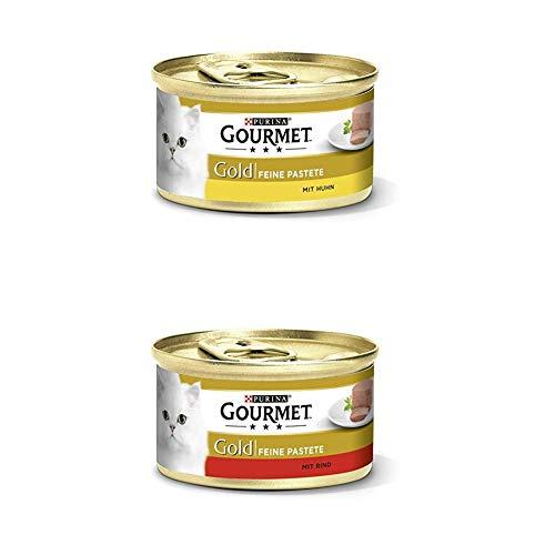 Gourmet Gold Katzenfutter 24er Mix-Pack (2 x 12 x 85g) Pastete mit Huhn und Pastete mit Rind