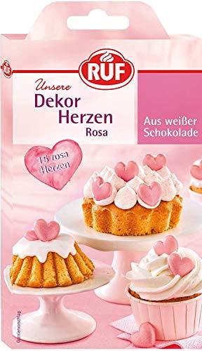 RUF 5 x 15 Dekor-Herzen rosa aus weißer Schokolade, essbare Dekoration für Kuchen und Torten, Schoko-Herzen, 5 Packungen à 17 g = 75 Herzen