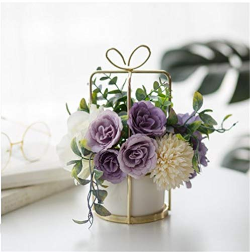 ShangduKünstliche Sträuße, Blätter und verstellbare Stiele für DIY Hochzeit Bouquet Braut Dekorationen 23 * 20cm Lila