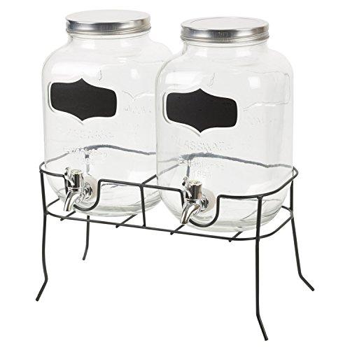 Getränkespender 2x4 Liter Ø16xH26cm inkl. Zapfhahn und Ständer Saftspender Wasserspender Glaskrug Getränkeflasche