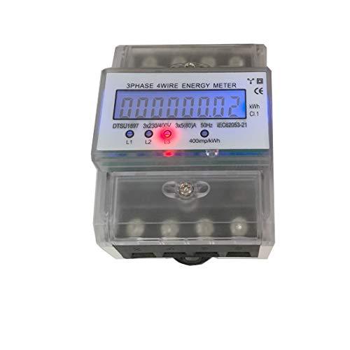 JVJ Stromzähler elektronisch Energiezähler Digital LCD 3 x 5(80A) 230/400V 3phasig Vierdraht