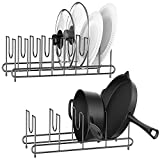 [Pack of 2] Pot Lid Organizer, Cutting Board Organizer for Kitchen Cabinet, Plate Holder for the Lid, Dish, Baking Pan, Chopping Board on Countertop, with 4 Rubber Foot Covers (Black)