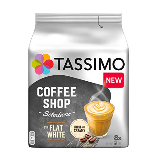 Tassimo Flat White, Coffee Shop Selections, Kaffee, Kaffeegetränk, 220 g, 16 T-Discs / 8 Portionen