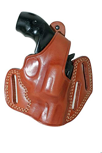 Premium Leather Three Slot Pancake Concealed Carry OWB Holster with Thumb Break Fits EAA Windicator 38 Special/ 357 Magnum Revolver 2' BBL 6 Shot, Right Hand Draw, Brown Color#1520#
