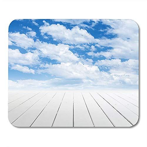 Mausepad Parkett Blaues Deck Weißer Holzboden Mit Perspektive Und Bewölktem Himmel Grau Natur Bühne Bühne Matte Mousepad Mousepad Game Office Gedruckte Rutschfeste Arbeit Bunte So