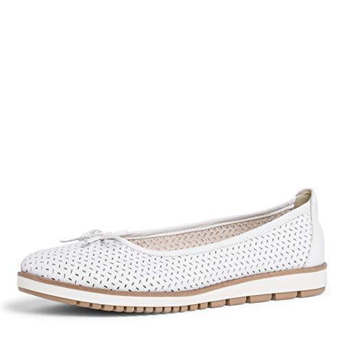 Tamaris Mujer Bailarinas, señora Bailarinas clásicas,Zapatos Planos,Zapatos Bailarinas,Touch It,Zapato de Verano,White Leather,41 EU / 7.5 UK