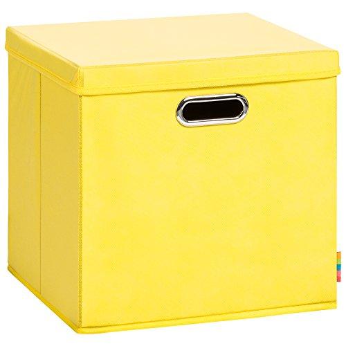 (Storanda) Aufbewahrungsbox LEA mit Deckel - Faltbox - Korb - 33x33x33 cm - (Gelb)