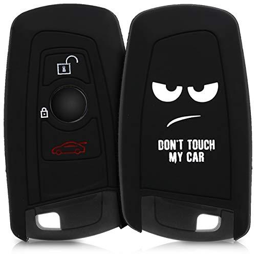 kwmobile Autoschlüssel Hülle kompatibel mit BMW 3-Tasten Funk Autoschlüssel (nur Keyless Go) - Silikon Schutzhülle Schlüsselhülle Cover Don\'t Touch My Car Weiß Schwarz