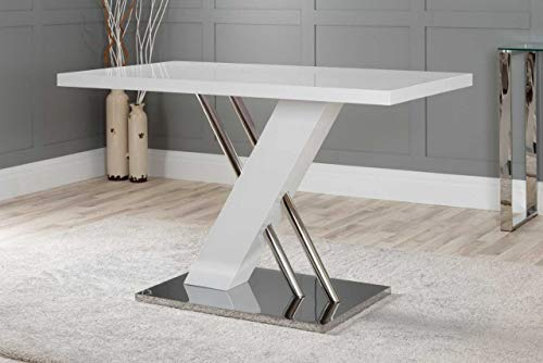 Furniturebox UK Sorrento 4 Modern White High Gloss Stainless Steel Metal Dining Table And 4 Stylish Andora Dining Chairs Seats Set (Dining Table Only)