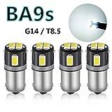 GOSMY G14 BA9s LED 口金 シングル ピン角180° ホワイト 6連 5630SMD ルームランプ 6000K (4個セット)
