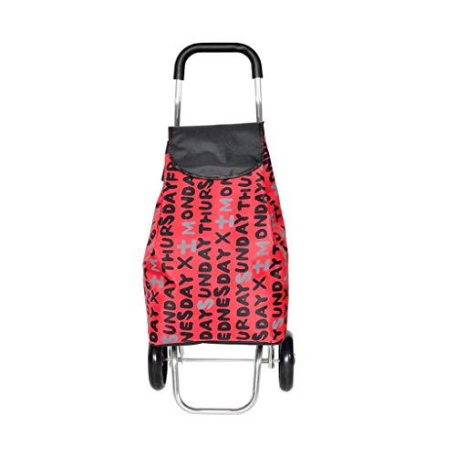 Lostgaming boodschappentrolley, ultralicht, van aluminiumlegering, draagbare kleine kinderwagen, opvouwbare kleine aanhanger (88 x 35 x 30 cm)