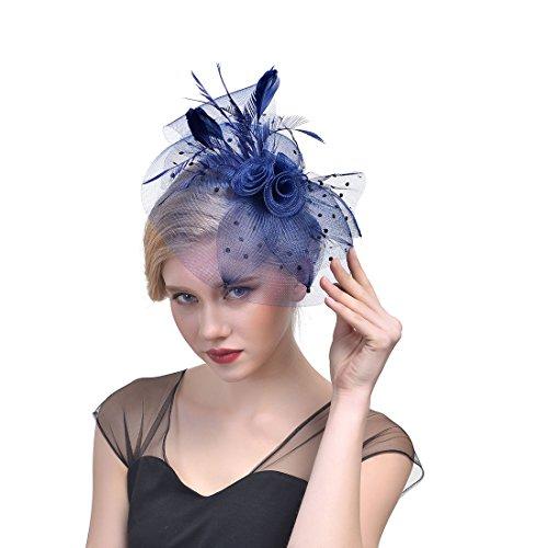 Damen Tulle Feather Fascinator Stirnband Netz Blume Haarclip für Cocktail Party Royal Ascot Hochzeit Hut
