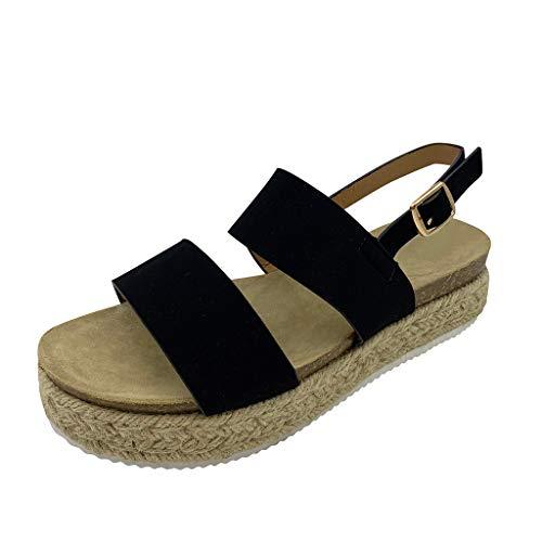 Sandalias para mujer, cómodas, para la cama de los pies, plataforma para mujer, plataforma de buckle Strappy Open Toe Beach paja de verano, de paja oblicua, de tejido con plataforma