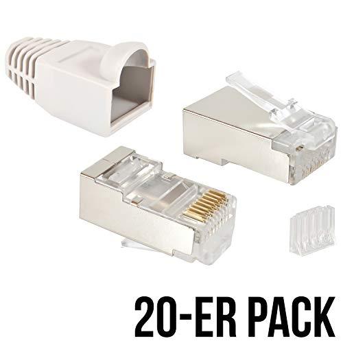 VESVITO 20er Pack RJ45 Crimpstecker CAT 6 STP geschirmt mit Einfädelhilfe und Knickschutz in Grau Steckverbinder, Netzwerkstecker, Stecker für Patchkabel, Netzwerk LAN Kabel, Netzwerkkabel