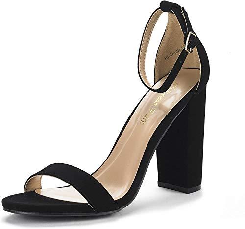 DREAM PAIRS Women's Hi-Chunk Black Nubuck High Heel Pump Sandals - 7.5 M US