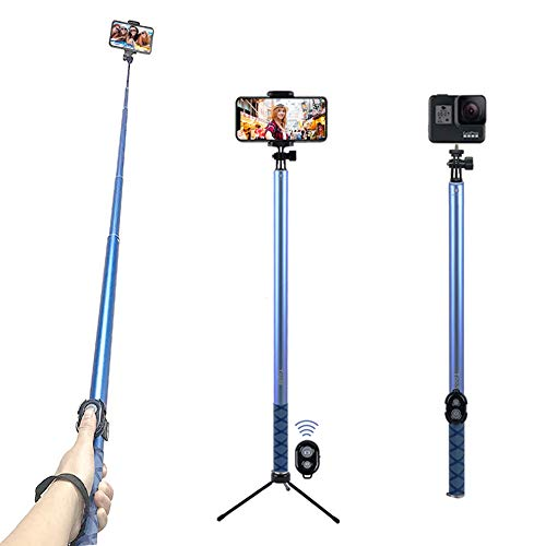 Selfie Stick with Tripod & Bluetooth Remote Extendable from 20'' to 98.4'' with Built-in Bluetooth Remote Shutter Grip Holder Mount for iPhone Samsung Android Most Mobile Phones