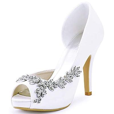 ElegantPark HP1560IAC Women's Peep Toe Platform High Heel Rhinestones Satin Wedding Party Dress Shoes White US 9