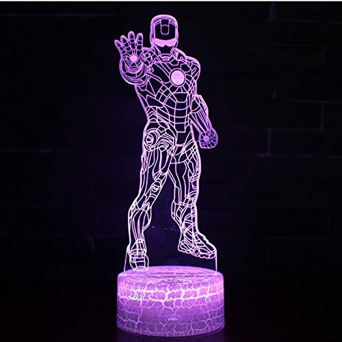 Superhéroe Iron Man tema Lámpara 3D LED luz nocturna 7 Cambio de color Touch Mood Lamp Navidad presente