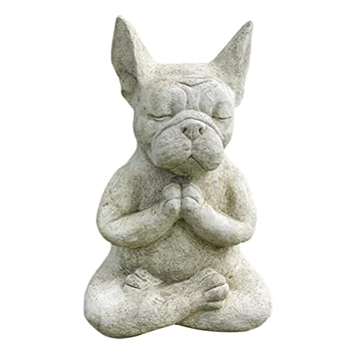 ZBRO Meditation Bulldog Statue, Resin Dog Sculpture Animal Statue, French Bulldog Figurine, Lifelike Animal Statue, Indoor and Outdoor Courtyard Garden Decoration Meditation Statue
