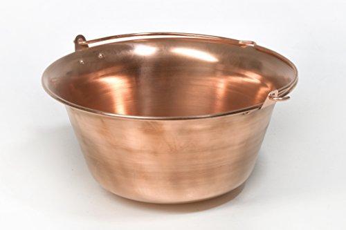 acerto Gulaschkessel aus Kupfer – 6 Liter Hitzebeständig Antibakteriell Geschmacksneutral | Robuster Kupferkessel für offenes Feuer | Hochwertiger Suppenkessel für Dreibein-Gestelle