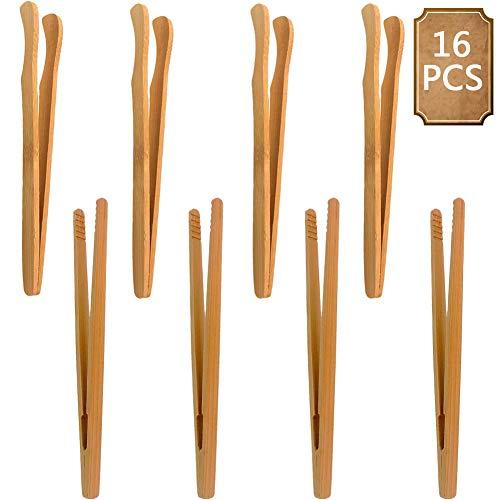 Pinze di Bambù,BETOY 16 Pezzi Pinza da Cucina In Bambù Pinze da Tè di Bambù per Toast in Legno Pinze da Cucina In Bambù per Cucinare, Pane, Tè Alla Frutta e Sottaceti,18cm