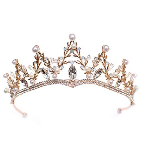 Lurrose Corona de Perlas Rhinestone Clásico Barroco Tiara Corona de Pelo Vintage...