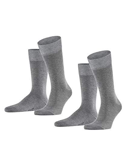 FALKE Herren Happy 2-Pack M SO Socken, Grau (Light Grey Melange 3390), 43-46 (2er Pack)