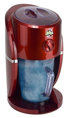 Lickleys Snow Cone Ice Shaver/Slushy Maker in Classic Red Design, Including 6 x 330ml Bottles of Slush Syrup Makes Home ice Drinks, Snow Cones, Slurpees,