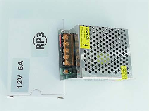 RPS Transformador de Fuente alimentación de Voltage con Interruptor de AC 110V / 220V a 12V para Tira de LED, cámara de Video de vigilancia, Monitor de Seguridad y más CC 5A 60W