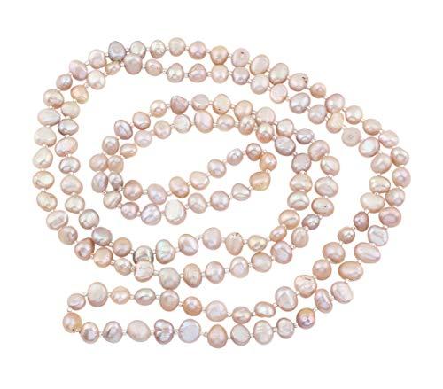 TreasureBay Classic Natural Freshwater 6-6.5mm Baroque Pearl Necklace for Women (Purple Pearl)