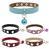 H87yC4ra Collar de cuello ajustable de piel de vacuno con botones a presión para mascotas, perro o gato, color marrón S con campana