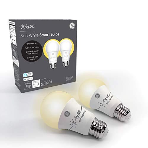 C by GE A19 Smart LED Bulbs - A19 Soft White Light Bulbs, 2-Pack, Smart Light Bulb Works with Alexa and Google Home, Bluetooth Light Bulbs, Warm White LED Light Bulbs