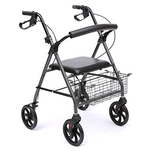 CLYZXQ Oudere Walker, Draagbare 4-wielige zitje Walking Walker, Aluminium Structuur Extra Walker