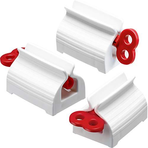 Chengu 3 Stücke Zahnpastaspender Zahnpastasitzhalter Sitzhalter Standplatz Drehen Zahnpastaspender für Badezimmer (Rot)