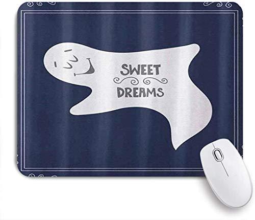 NANITHG Stoff Mousepad,Künstlerischer Rahmen der afrikanischen süßen Träume mit schlafendem Geistertext auf dunkelblauem Hintergrund Halloween,Rutschfest eeignet für Büro und Gaming Maus